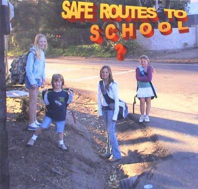Don Miller made this image of kids walking to Cold Spring School on Sycamore Canyon Road. 