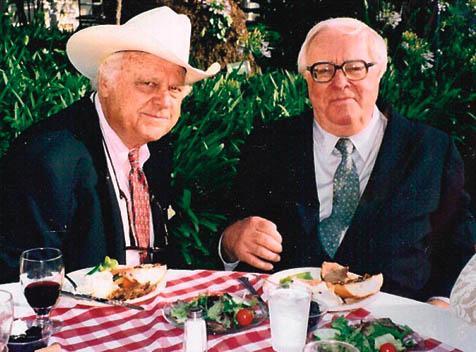 Santa Barbara Writers Conference founder Barnaby Conrad (left) with Ray Bradbury (right).