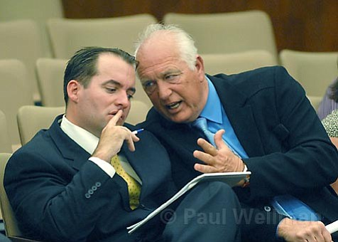 It was a long afternoon for Randy Welty (left) and his spokesperson Richard Adam at the County Board of Supervisors this week as the two tried to defend Welty's plan to build a 13,000-square-foot home on the Gaviota Coast.