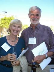 Selden Edwards celebrates his 30-years-in-the-making major book deal with his wife Gaby at the Santa Barbara Writers Conference.