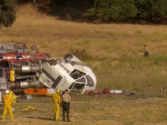 Closeup of the Zaca Fire chopper crash, where two people were transported by ambulance to the hospital with minor injuries.