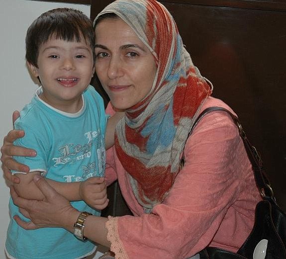 Jamal, who has Downs syndrome, and his mother in Bahrain.