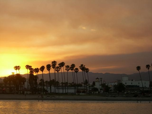 A beautiful sunset from the Santa Barbara Harbor, enhanced by smoke from the Zaca Fire.
