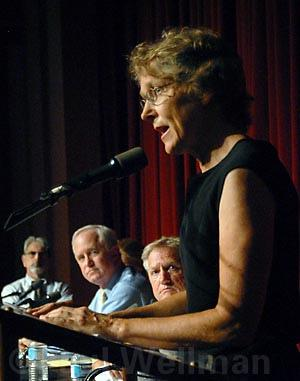 Melinda Burns in town hall meeting, July, 2006