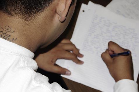 Edward Chavez edits a story on discrimination for the third issue  of Shape of Voice.