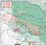 Zaca Fire map, July 27, 2007