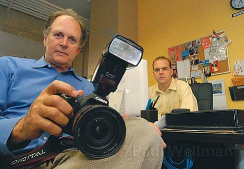 Charles Swegles (left), the Daily Sound's copublisher and the photographer on the scene after the March 14 stabbing, with Jeramy Gordon, editor and publisher. They do not intend to turn over unpublished photographs.