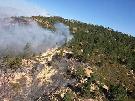 While nearby wildland residents worried about the fire spreading south, wilderness buffs were anxious about its impact on the Mission Pine area. Here flames spread out towards Mission Pine Springs,
