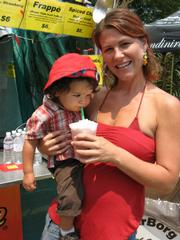 Nicole Schultz gives 17-month-old Nicholas Schultz-Clifford a taste of her strawberry smoothy at the Gay Cafe