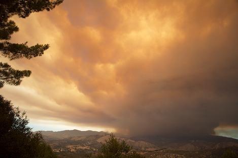 Massive firestorm over little Pine Mountain is the reason for the ash raining down on Santa Barbara.