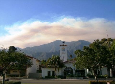 Smoke shrouds the Montecito skyline. (Zaca Fire)