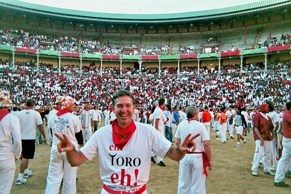Santa Barbaran Chris Nelson in the bullring at Pamplona after dangerous running with the bulls.