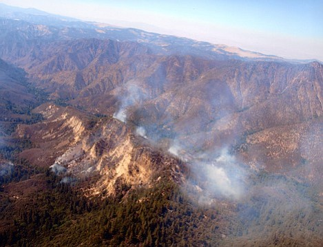 Fire in the wilderness areas continue to move slowly as it moves downhill. Here, the fire is spreading down  into the Sisquoc drainage in the Big Pine Canyon area.