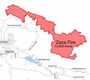 Zaca Fire Map - Aug. 9