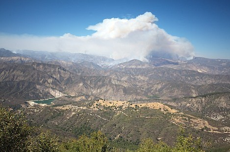 Large view of the current fire area located about 3 miles north of Gibraltar Reservoir. The fire is moving northeast on a path that will take it away from Santa Barbara.