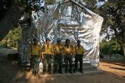 An 80-year-old administrative cabin at Bluff Camp that, thanks to the wrap job, survived the Zaca Fire.