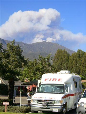 Saturday's ominous plume grows from the back fires. (Zaca Fire)