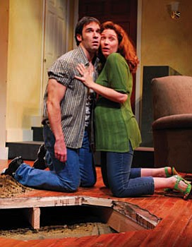 Patrick Hallahan as Eddie and Clarinda Ross as a curious neighbor in Mark Stein's <em>Bad Apples</em> at the Rubicon Theatre.