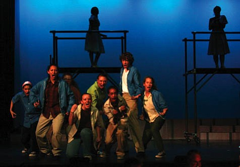 The ensemble in a dance sequence from West Side Story.