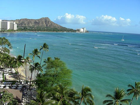 Diamond Head graces the skyline from Waikiki Beach.