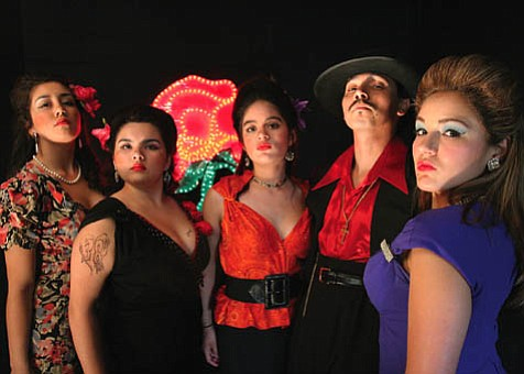 El Pachuco (Michael Uribes, second from right) surrounded by the Pachuco Quartet-Elena Torres (Emily Molina), Bertha Villareal (Christy Sandoval), Lupe Reyna (Katie Hipol), and Guera (Nellie Pavlecic).