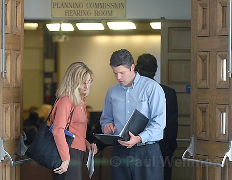 Goleta Valley Chamber of Commerce President Kristen Amyx meets with Coastal Housing Coalition Director Chris Henson before a meeting about Isla Vista housing.