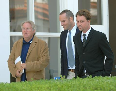 L to R Marty Keegan, Barney McManigal, and Tom Schultz leave the U.S. Bankruptcy Court at Lunch time Wednesday.