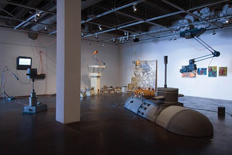 """Team Hyperbole's """"20 Rounds of Aquatic Therapy"""" (installation shot), 2007."""