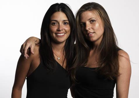 Designer Elise Smith (right) with partner Milagros Berrios.