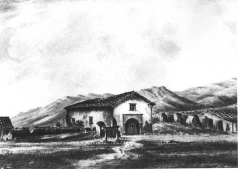School was held in the chapel at the Santa Barbara Presidio (shown here in a drawing from 1855) through much of the 1850s.