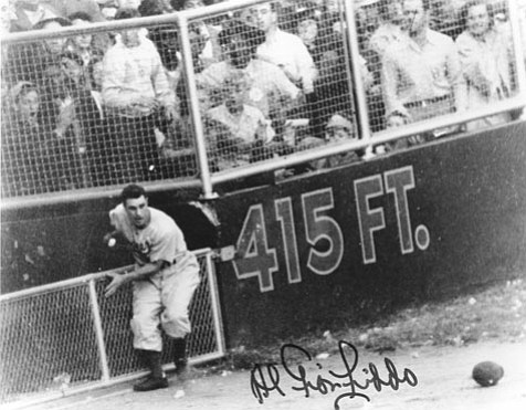 Al Gionfriddo lost his hat while running to catch Joe DiMaggio's almost homer in the 1947 World Series. Gionfriddo signed the photo for the author.
