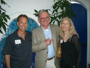 City councilman Brian Barnwell (center) stands with Rodney Gould and Jan Atkins, both former presidents of the Coast Village Road Business Association.