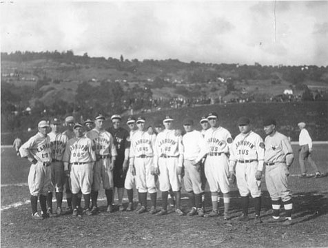 Lou Gehrig and Babe Ruth, sixth and seventh from left, respectively, in Santa Barbara, in 1927.