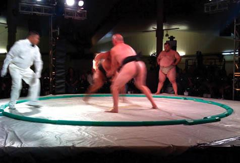 Sumo wrestling took center stage on Friday night at Earl Warren Showgrounds. The big boys were accompanied onstage earlier in the evening by jiu-jitsu wrestling, Taiko drummers, and full-submission wrestling displays.