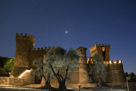 Castello di Amorosa at night.