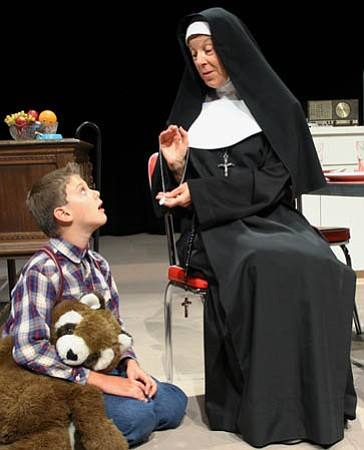 Daniel Salinas is a pupil of Sister Clarissa (Marion Jessup Freitag) in SBCCTG's <em>Over the Tavern</em>.