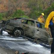A detail of the crashed Nissan.