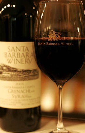 Que syrah, syrah:  A glass of the good stuff at the Santa Barbara Winery on Anacapa Street.