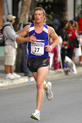 """UCSB alum J.T. Service heads to New York City this weekend for the U.S. Men's Marathon Trials for the 2008 Beijing Olympics. """"To finish in the top 25, it would be the race of my life,"""" Service said."""