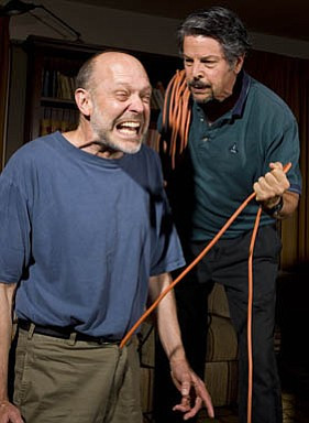 Tom Hinshaw (left) as Haynes and Tony Miratti as Mr. Welch in <em>The God of Hell.</em>