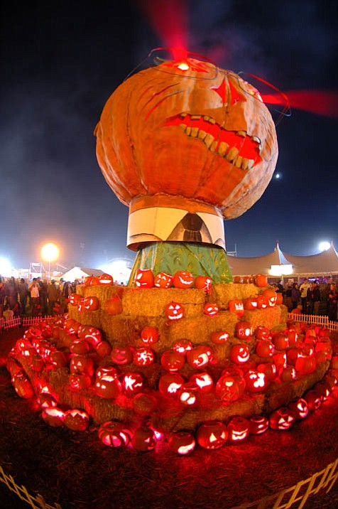 This giant pumpkin art installation is a fixture every year at the Halloween weekend event.