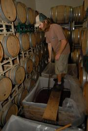 Before the fruit is ready for its big squeeze, it is subjected to twice-a-day punch-downs-Matt Brady demonstrates at right-for two weeks, so as to expedite its fermenting process.