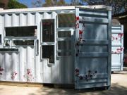 A side view of the recycled shipping container, donated by J Staal.