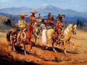 """""""Five Vaqueros""""  watercolor and gouache."""