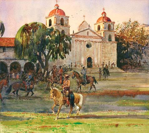 """Gathering at Mission Santa Barbara""  watercolor."
