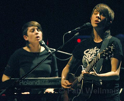 Siblings Tegan (left) and Sara took to the Lobero stage on October 31 for a special Halloween show in support of their latest album, The Con.
