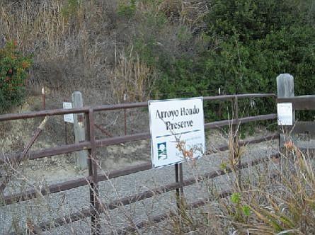 The gate to the Arroyo Hondo Preserve.