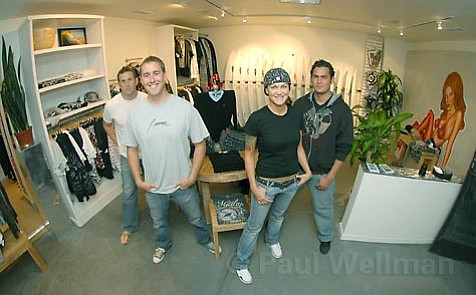 Feisty Crew: J.seven owners (left to right) Sean O'Connor, Jason Feist, and Tarik Khashoggi, with shop manager Leanna Bortolazzo (second from right).