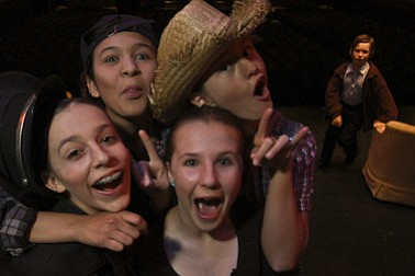 Students have fun after dress rehearsal.
