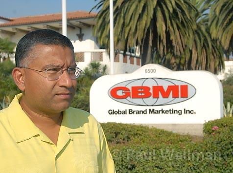 "Before the fall: Global Brand Marketing founder and CEO Sudeepto ""Killick"" Datta in 2006 in front of the 50,000-square-foot Goleta headquarters."